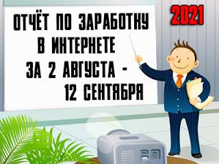 Отчёт по заработку в Интернете за 2 августа - 12 сентября 2021 года