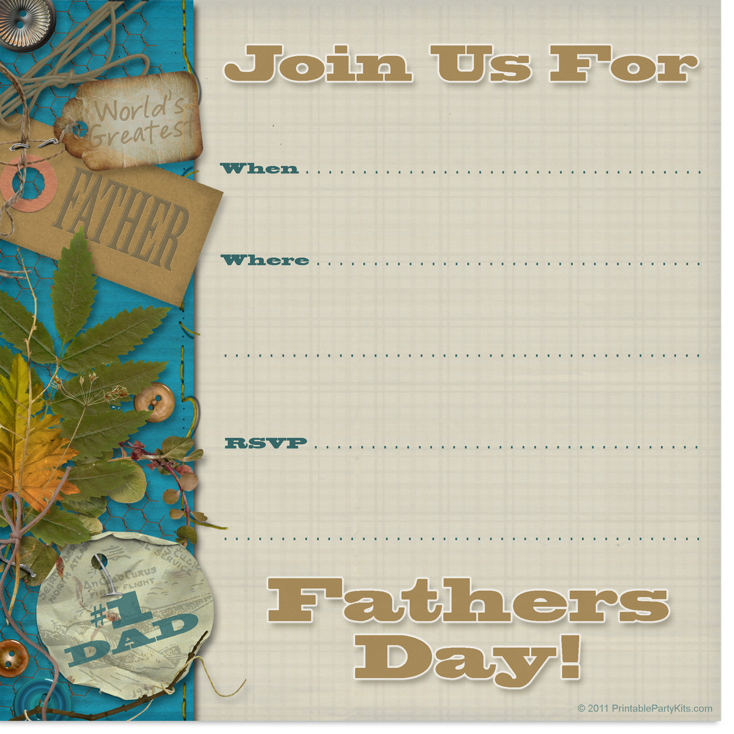 free printable Father's Day party invitation
