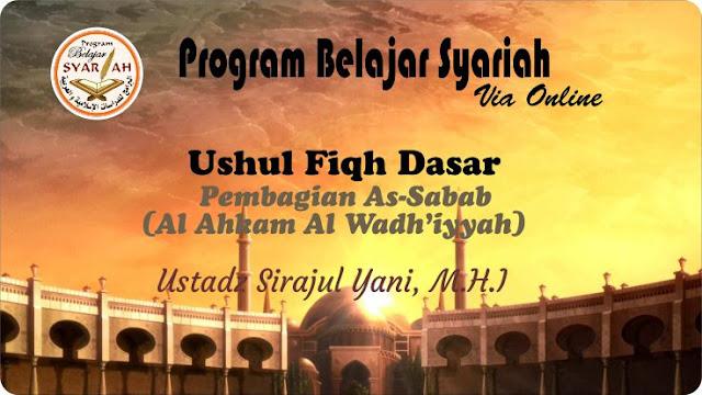 Pembagian As –Sabab (Al Ahkam Al Wadh'iyyah)