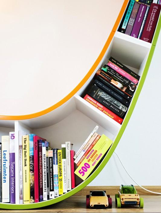 Desain Rak Buku Unik Variasi Warna utk Pecinta Buku ...