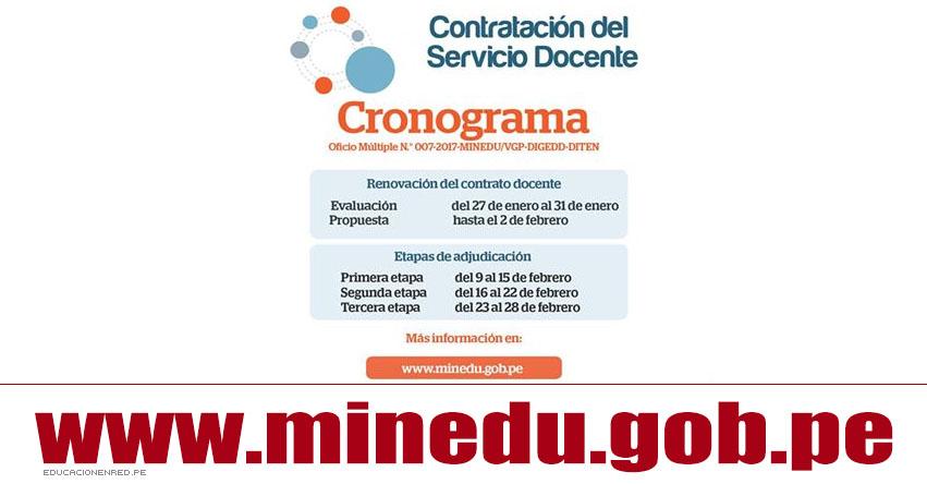 MINEDU: Etapa de Adjudicación Contrato Docente Año Escolar 2017 (Primera Etapa 9 al 15 Febrero) www.minedu.gob.pe