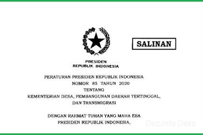 Perpres Nomor 85 Tahun 2020 Tentang Kementerian Desa PDTT