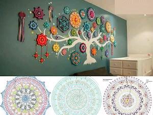 Decoraciones echas con Mándala  a crochet (Patrones del albor)