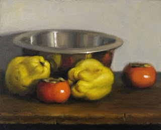Still life oil painting of two quinces, two persimmons and a stainless steel bowl.