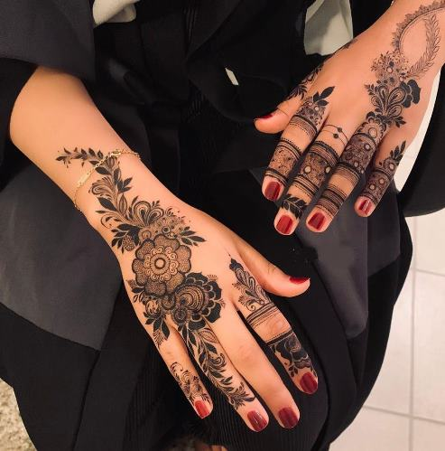 College Style Mehndi Back Hand