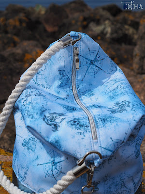 bucket bag, hobo bag, map, sailor, rope, nautical, Washpapa, Largs, adventure, voyage, Largs, Scotland, waterproof polyester,  Vegan bag, sea side, rope handles,