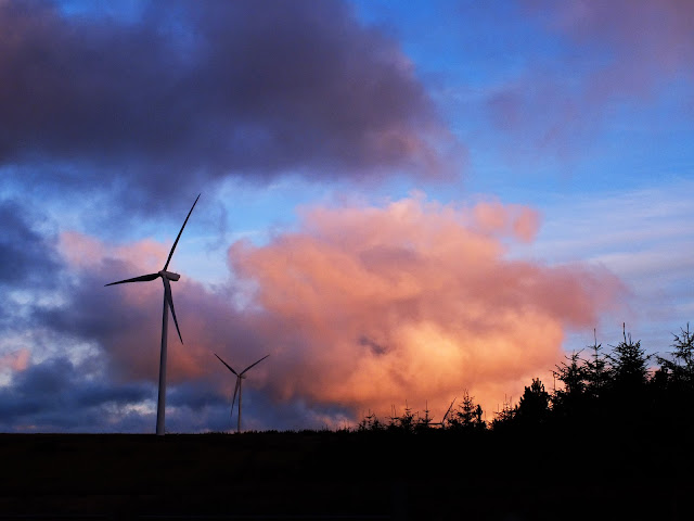 Cumulus clouds at sunset set against windmills and forestry in Ireland.