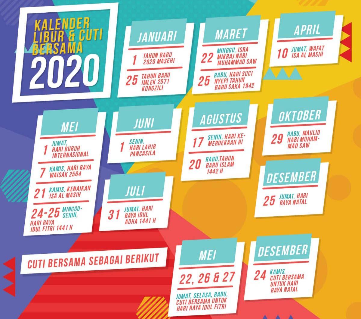 Rincian Hari Libur dan Cuti Bersama Tahun 2020
