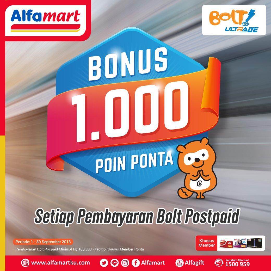 Alfamart - Bayar Bolt Postpaid Bonus 1000 Point Ponta (s.d 30 Sept 2018)