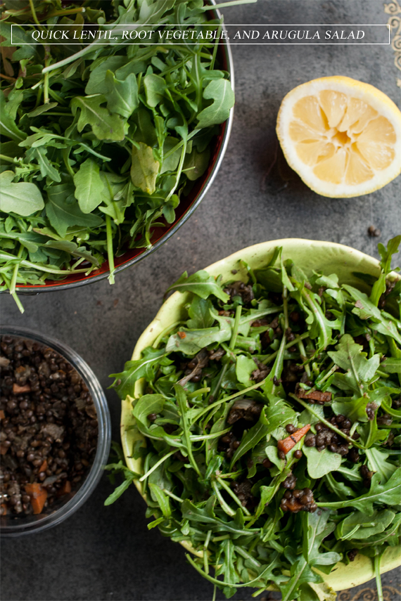 Quick Lentil, Root Vegetable, and Arugula Salad // Bubby and Bean