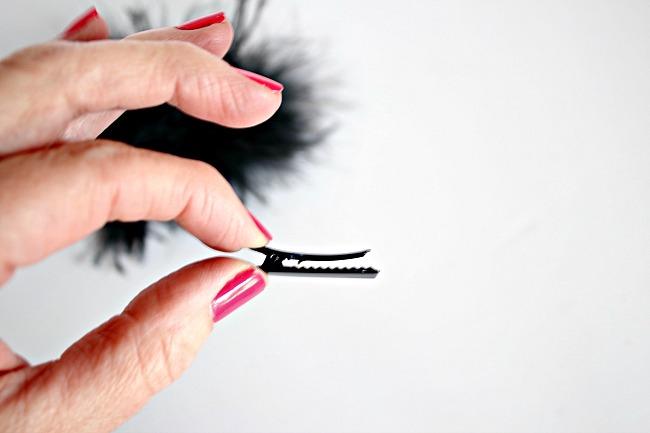 DIY designer shoe look for less, leopard heels, feather shoe clip, alligator clip craft