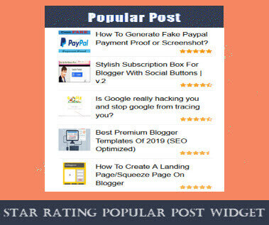 Popular post widget with rating for blogger