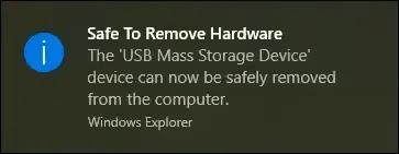 إخراج محرك أقراص USB من شريط المهام