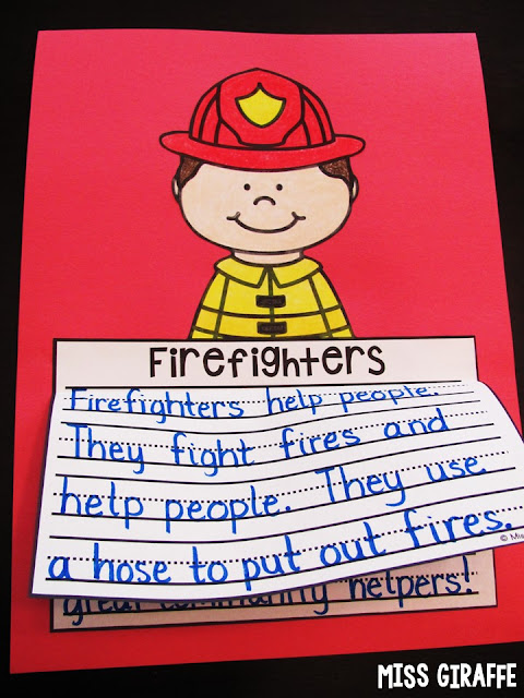 Firefighter writing activities perfect for fire safety or community helpers units