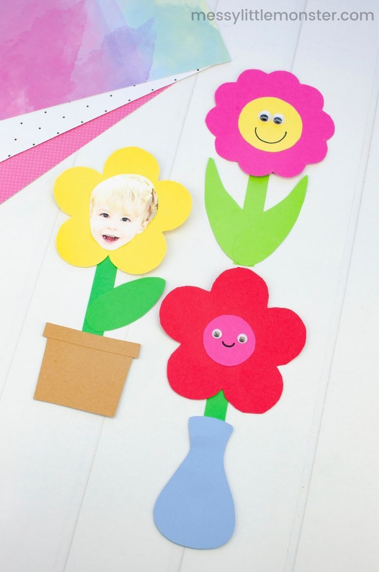 Spring crafts for kids - mix and match flower craft