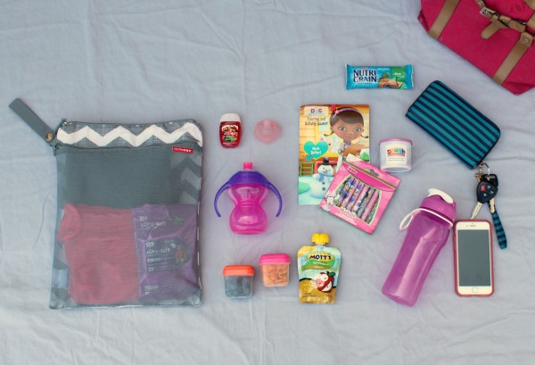 Everything I include in my purse when packing for a toddler, including how I use a wet/dry bag.