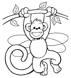 Adorable Monkey In Forest Coloring Pages Animals