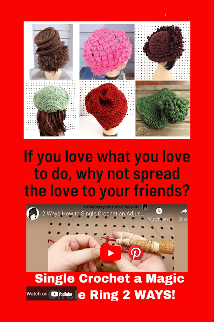 In case you want to know where to locate these patterns that use the single crochet magic circle ring, here it is. CLICK HERE to Watch the YouTube video. Pinterest is a wonderful tool to help spread the love.