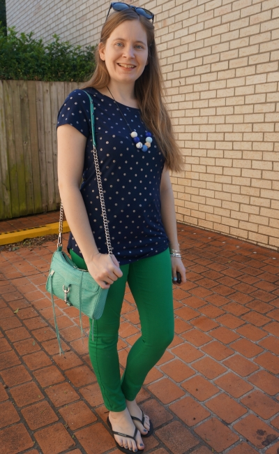 navy polka dot foil print tee with forest green asos petite skinny jeans SAHM spring style | awayfromblue