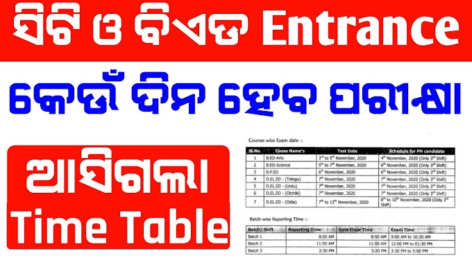 CT & BEd Exam Time table Admit Card