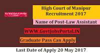 High Court of Manipur Recruitment 2017– Law Assistant