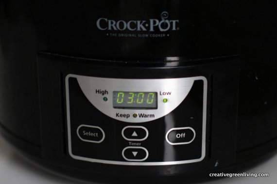 Set the slow cooker on three hours