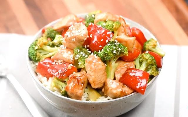 Sheet Pan Sesame Chicken and Veggies #dinner #chicken