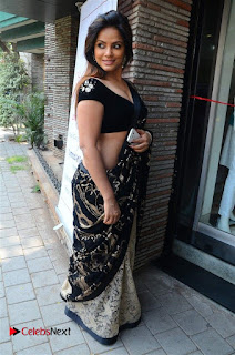 Actress Neetu Chandra Stills in Black Saree at Designer Sandhya Singh's Store Launch  0055.jpg