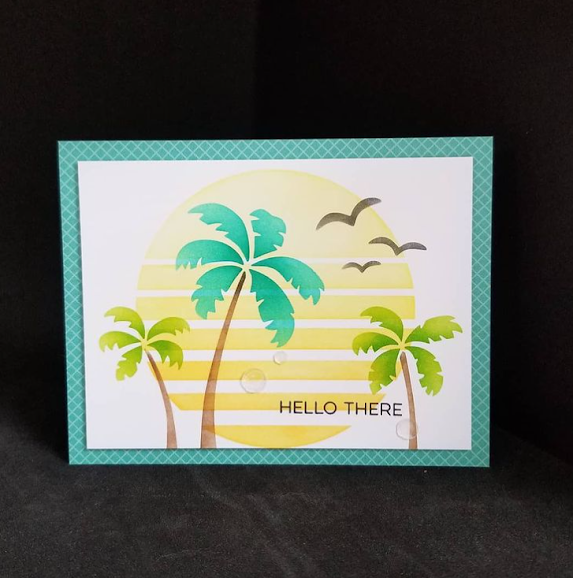Hello there by Karen features Retro Sun & Palms by Newton's Nook Designs; #inkypaws, #newtonsnook, #tropicalcards, #cardmaking