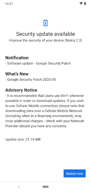 Nokia 2.3 receiving May 2020 Android Security patch