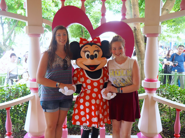 Me and my sister meeting Minnie Mouse in Fantasyland | Disneyland Hong Kong