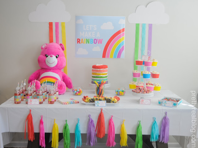 Snacks at a Care Bears Rainbow Party