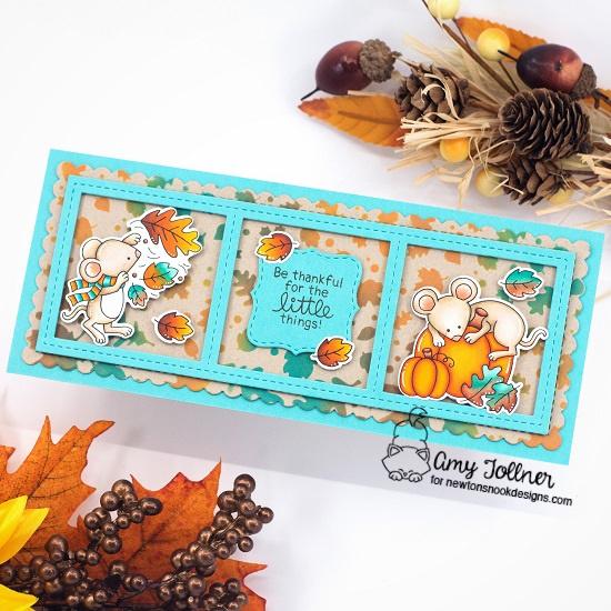 Autumn Mice Stamp and Die Set, Falling Leaves Stencil, Slimline Frames and Portholes Die Set, Slimline Frames and Windows Die Set by Newton's Nook Designs #newtonsnook #handmade