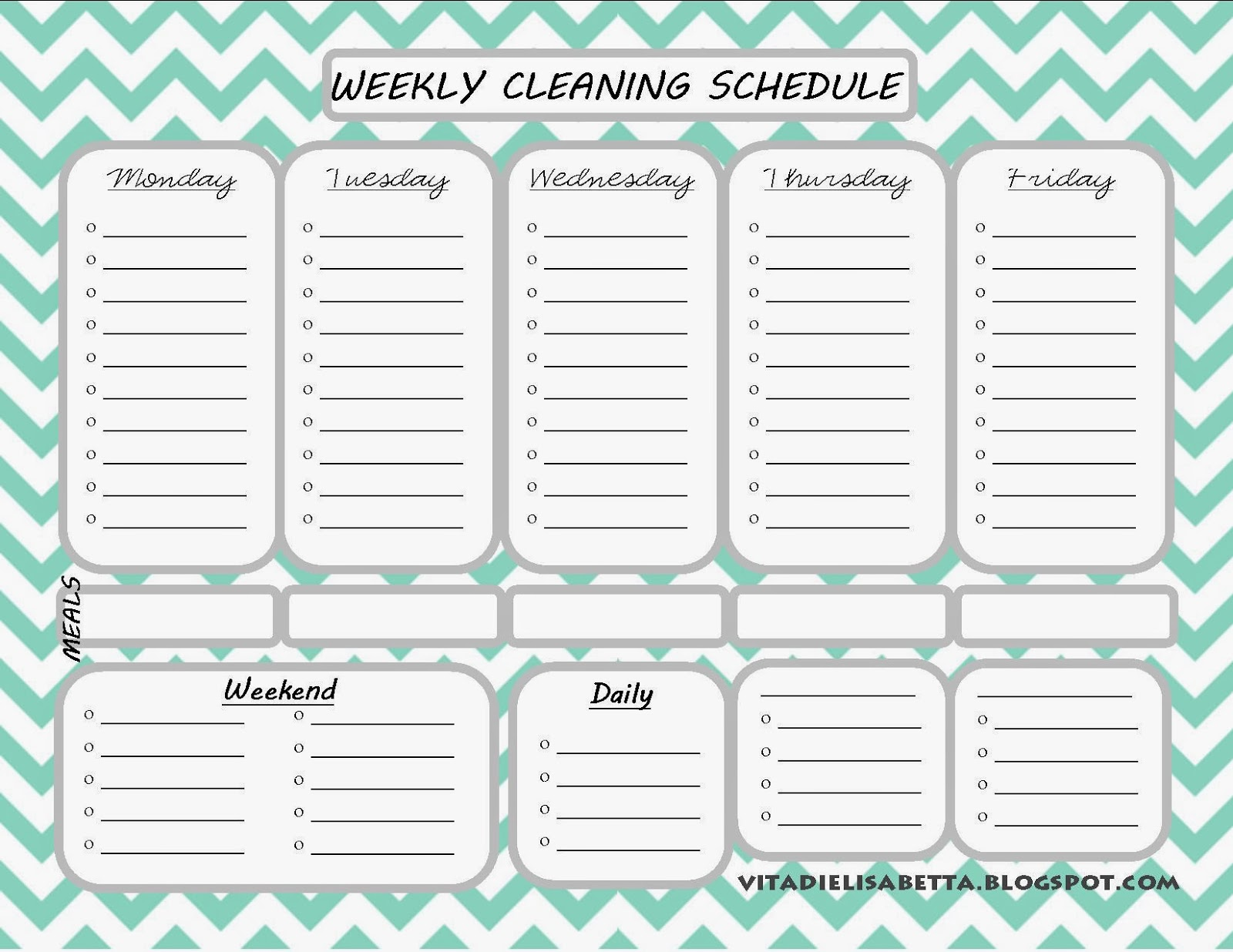 Blank Weekly Cleaning Schedule Seroton Ponderresearch Co