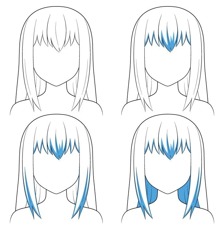 Langkah shading rambut panjang anime