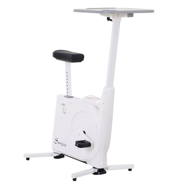 Soozier 2-in-1 Stationary Exercise Bike and Tabletop Workstation with LCD Monitor White