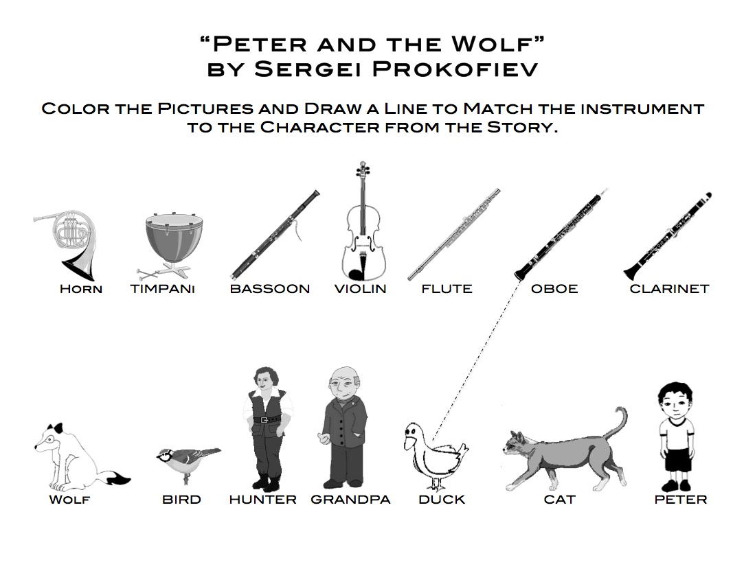 Learn Me Music Peter And The Wolf Matching And Coloring Page
