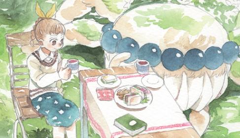 Garota de cabelo laranja trançado, sentada em uma cadeira, com uma xícara de chá em uma das mãos. Mesa com toalha e pratos dispostos com sanduíches, uma xícara de chá e um livro, ao lado da garota. Atrás da mesa há uma aranha gigante.