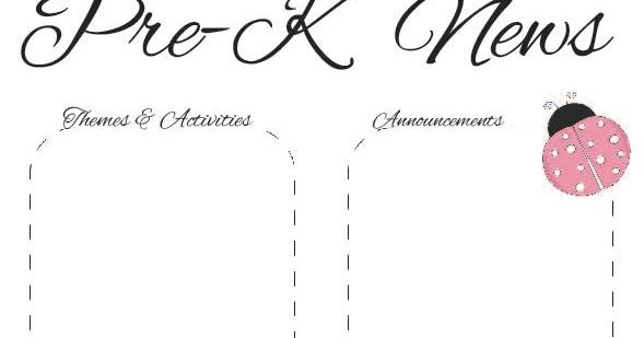 The Crafty Teacher: Spring Pre-K Newsletter Template