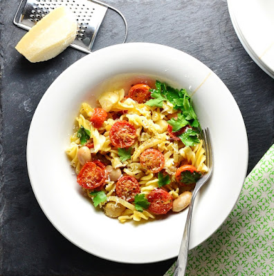 Skinny Fennel Bean Tomato Pasta Bake
