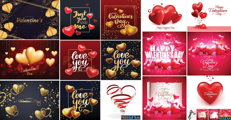 Valentines Day 38 Backgrounds With Hearts Pack