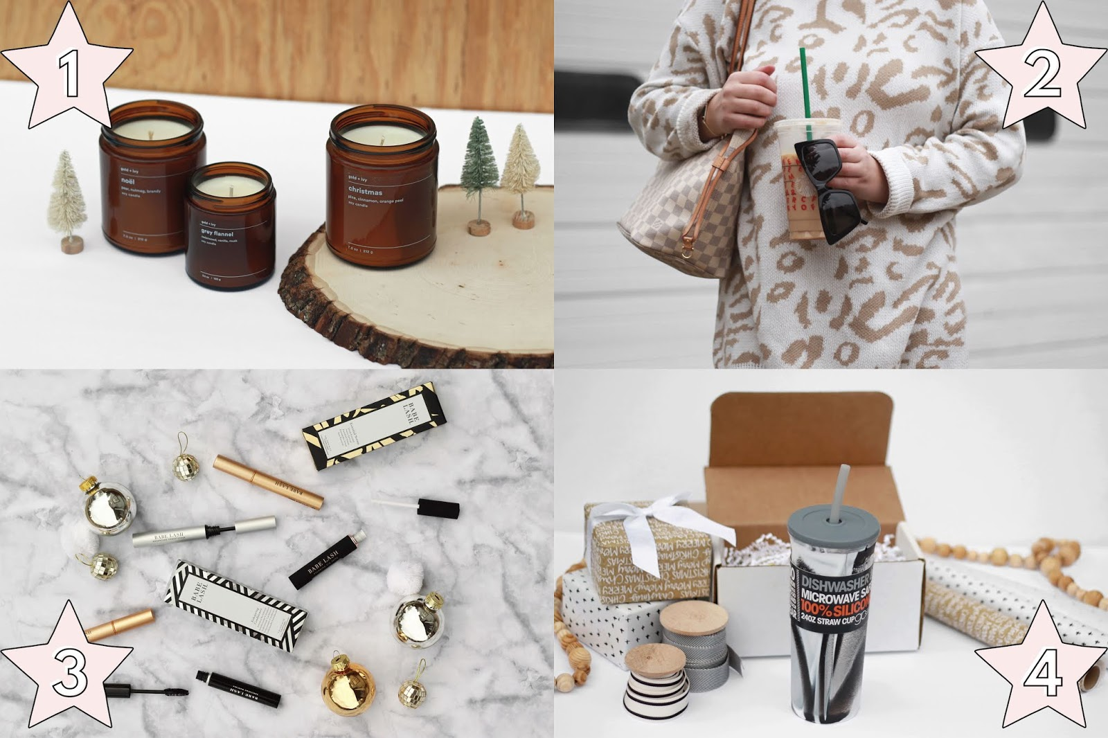 unique holiday gift ideas for her, gold and ivy handpoured soy candles gift idea for her, eleventh hour sunglasses gift idea for her, babe lash holiday gifts for her, go sili silicone cup and straw gift idea for her, holiday christmas gift ideas for her