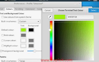 cara merubah warna tulisan di debian