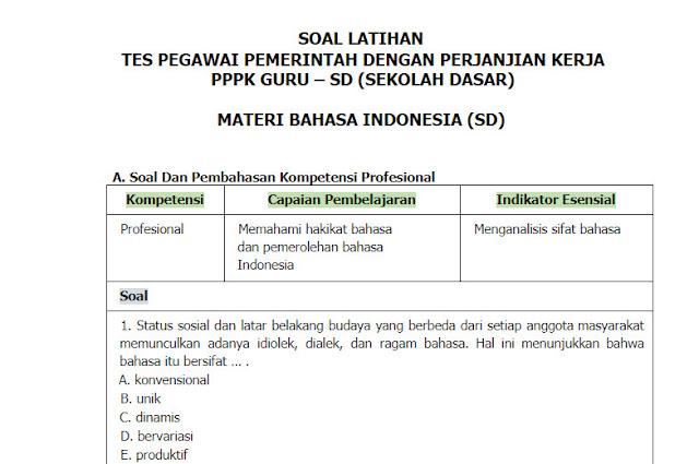 Contoh Soal PPPK (P3K) Bahasa Indonesia Guru SD + Kunci Jawabannya