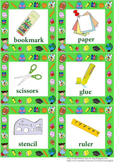 school objects flashcards with words