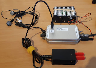 The complete ultra portable 20m station including battery pack, mini key and headphones