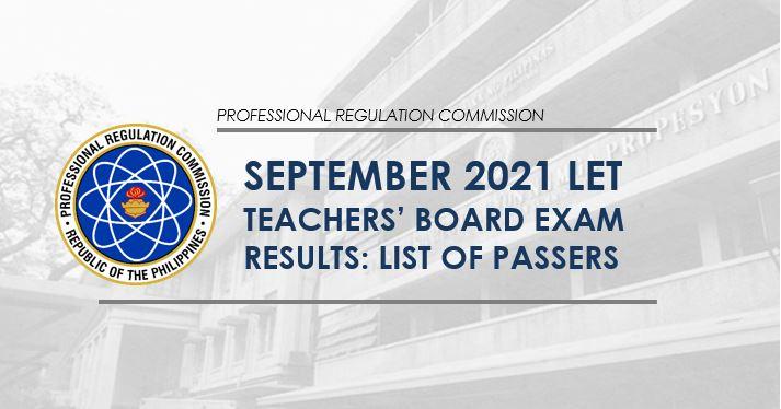 LET RESULT: September 2021 teachers board exam list of passers
