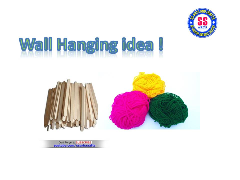 Wall Hanging Out Of Ice Cream Sticks And Wool