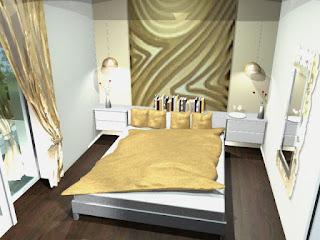 Stanovanje v Ljubljani - idejna zasnova za spalnico.