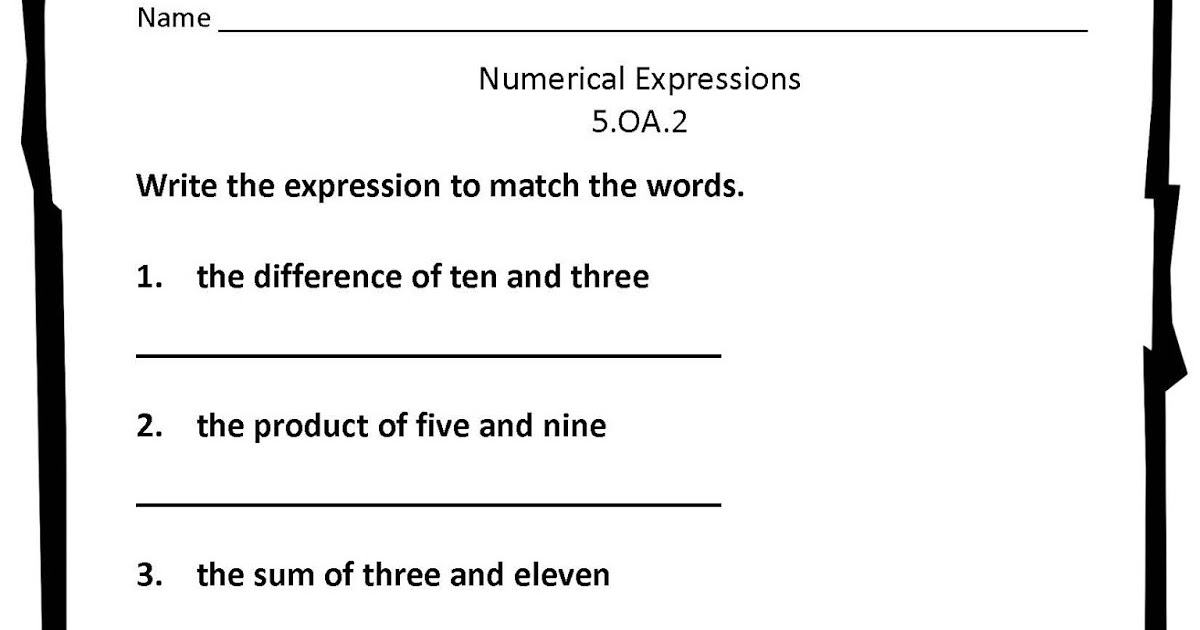 Classroom Freebies Too: Numerical Expressions Worksheet